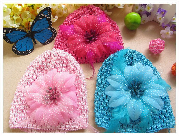 Newest Fashion Baby Infant Feather Flower Knitted Caps Crochet Hats Beanie 30set/lot FreeshippingÎäåæäà è àêñåññóàðû<br><br><br>Aliexpress