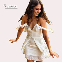 Buy Fuedage Summer Autumn Sexy V Neck Dress Women Spaghetti Strap Tassel Dresses 2017 Club Beach Party Mini Line Bodycon Vestidos for $22.41 in AliExpress store