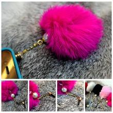 Retail 2pcs Pearl fox fur diamond 3.5mm universal earphone Dust plug for iphone ipad samsung mobile cell phone Dustproof plug