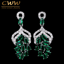 Handmade Luxury Big Dropping Grape Flower Shaped Micro Pave Royal Blue Green Cubic Zircon Stones Earrings For Women CZ142(China)