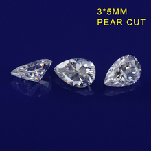 White EF color 3*5mm pear shape moissanites loose gem stones for jewelry making synthetic diamonds