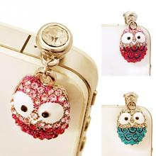 Universal Phone Headset 3.5mm Plug Headphone Jack Plug Cellphone Lovely Big Eyes Owl Diamond Dust Plug Diamond Pendants(China)