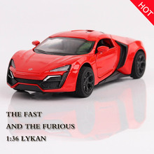 Hot 1:36 Fast & Furious Lykan Alloy Diecast Car Model Pull Back Toy Cars 2 Electronic Metal Car Kids Toys for Children Gitfs