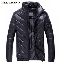 HEE GRAND Hot Sale Men's Winter Coat Padded Jacket Autumn Winter Outwear Casual Parkas Solid Color MWM243