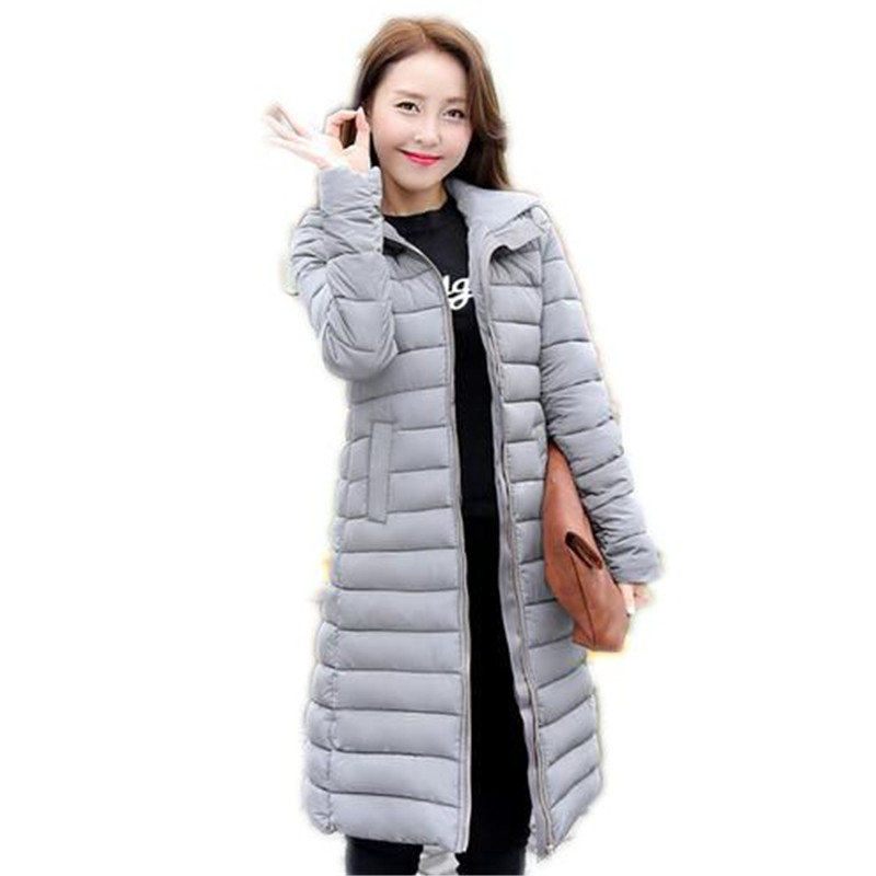 2017 New Winter Down Jacket Women Slim  Hooded Cotton-padded Jacket  Pure Color Long section Wadded Jacket Winter Coat A1081Одежда и ак�е��уары<br><br><br>Aliexpress