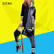 [XITAO] 2017 new autumn Korea fashion street loose character print patchwork pockets calf-length pants female jumpsuits KLN003(China)