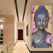 High Quality 3Piece Buddha Statue Bodhisattva Damo High Definition Prints Wall Art Modern Home Room Decorated for Room Wall(China)