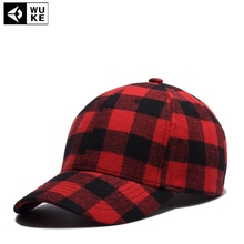 [Wuke] Brand PLATED CURVED CAP Woolen cloth checks baseball hat for men women adult hip hop outdoor casual sun snapback cap(China)
