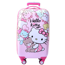 Wholesale!20inches girl korea fashion abs trolley luggage bag on universal wheel,child pink hello kitty schoolbag,travel luggage(China)