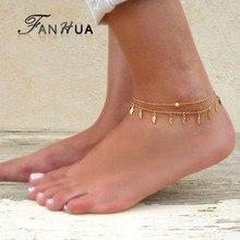 FANHUA Bohemian Jewelry Gold-Color Silver Color Chain Anklets Leaf Charm Boho Chic Anklets Beach Barefoot Sandals Foot Jewelry(China)