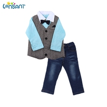 LONSANT Baby Boy Clothes Gentleman Shirt Vest Jeans Bow Tie Leisure Bodysuit Newborn Three Sets Dropshipping JUL04