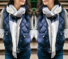 Fashion Women Lozenge Coats Winter Slim Fleece Warm Parka gilet Vest Jacket Sleeveless Coat Waistcoat