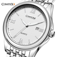 COMTEX Business Men Watches Famous Brand Luxury Watch China Mens Watch Quartz Stainless Steel Clock Simple Waterproof Wristwatch(China)