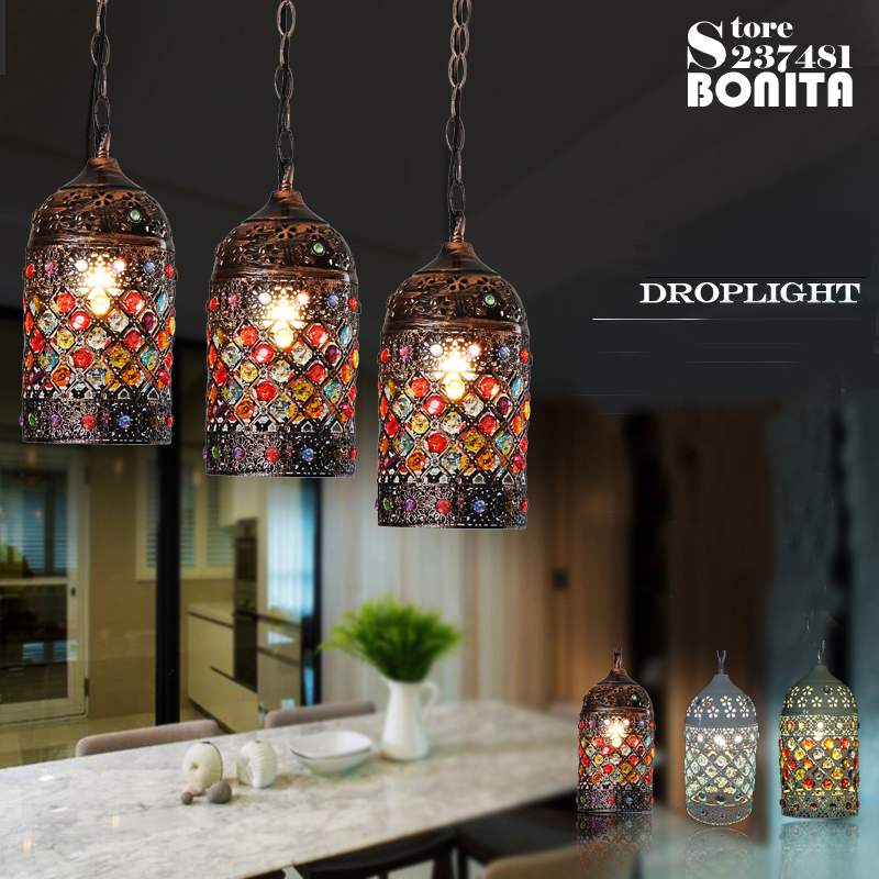 Vintage pendant lamp Bohemian Specialties Mysterious Mosaic droplight loft Iron hanging lights dining room Crystal Pendant Light<br>