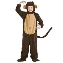 Child Monkey Costume For Boys And Girls Warm Thick Cosplay Costumes With Tail Polyester Fleece Animal Clothes Dress Up As Monkey(China)