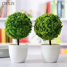 Artificial Plants Ball Bonsai Fake Tree Decorative Green Plants For Home Decoration Garden Decor 4 Colors 1 set ( plants+vase)(China)