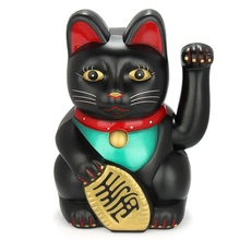 Cute Black Classic Lucky Wealth Electric Wink Cat Waving Cat Beckoning Maneki Feng Shui Crafts Home Shop Decor Gifts 20cm(China)