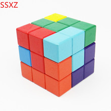 SSXZ Square Wooden Russian Tetris Games 3D Building Blocks Toy Assembly Magic Cubes Educational DIY Bricks