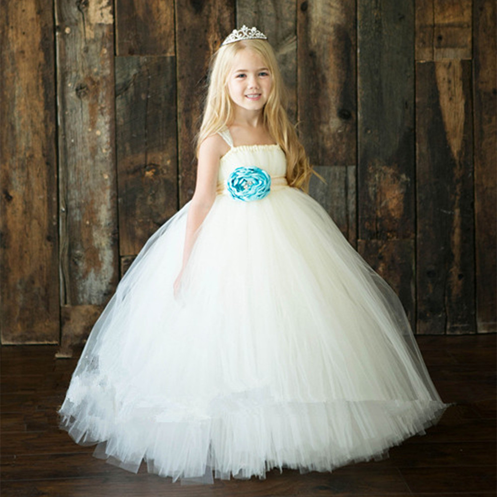 Princess Girls Tutu Dress Ankle Length Ribbons Baby Girls Ball Gown Party Wedding Birthday Dresses For 2-10Y PT209<br>
