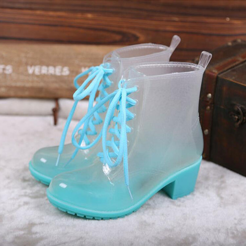 Women Rubber Rain Boots 11 Candy Colors High Heels Mid-Calf Rubber Rainboots Lace-Up Water Shoes<br>