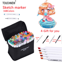 TOUCHNEW 168 Colors Sketch Markers Design Artist Dual Head Manga Markers Set For Alcohol Based Marker Painting Artist