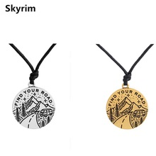 Skyrim Motivational Tag Charm Find Your Road Message Pendant Necklace Adjustable Wax Cord Chain Unique Jewelry Best Friend Gifts(China)