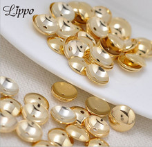 80pcs 4 6 7 8 10 12mm Yellow Gold plated Beads Cap Smooth Spacers Beads Caps Accessories Diy Jewerly Fittings(China)