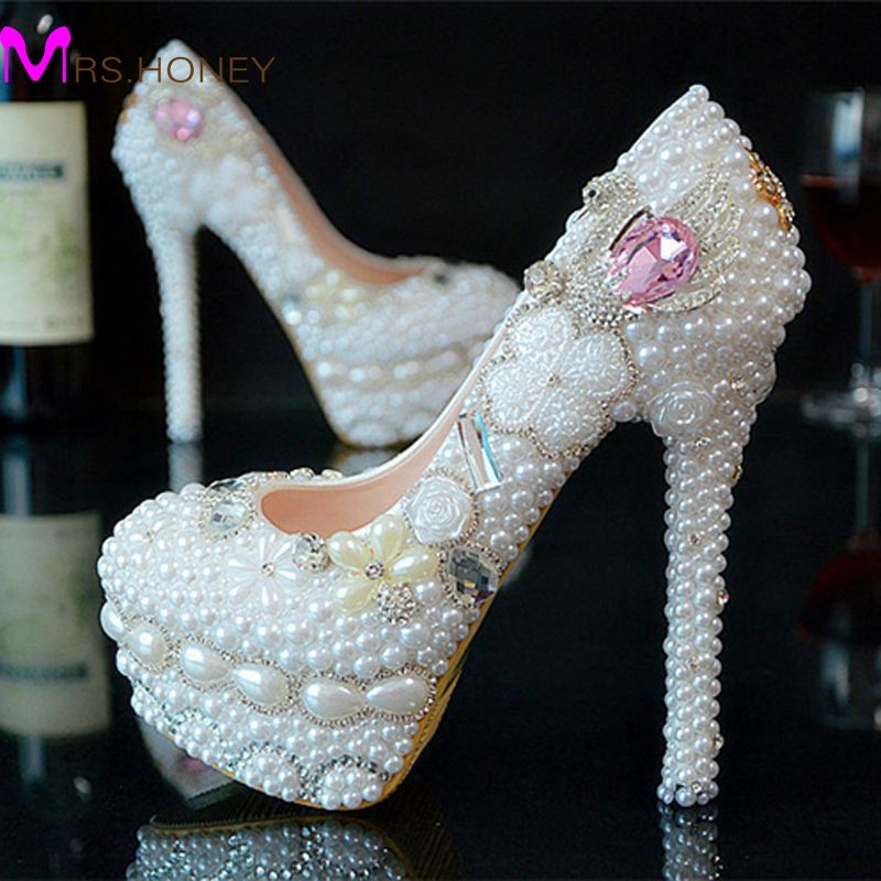 Handmade White and Ivory Wedding Dress Shoes Bridal Shoes Gorgeous Super High Heel Shoes Pearl Rhinestone Shoes<br><br>Aliexpress