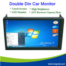 "Free Shipping High Brightness 6.95"" Double DIN VGA Touch Screen LED Car Monitor with AV2 Reverse Camera First(China)"