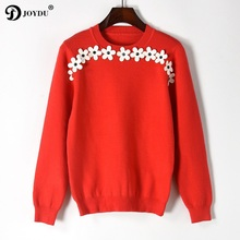 JOYDU Fashion 2017 Newest Fall Winter Women Sweaters and Pullovers Runway Designer Plum Blossom Appliques Casual Sweater Jumper
