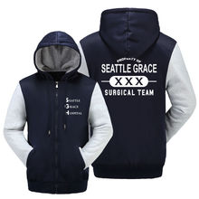 WISHOT Grey's Anatomy PROPERTY SEATTLE GRACE SURGICAL Zip Hoody Navy Blue Hooded Jacket Thick Coats Unisex Sweater hoodie(China)