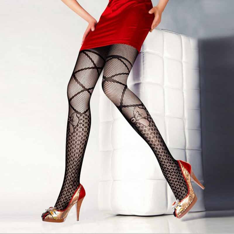 Sexy Women's or Girls, Core Wire Jacquard Club Panties, Knitting Net Thin Pattern Tattoo Fishnet Stockings 7