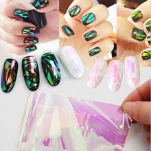 Colorful explosion model Nail Sticker aurora aurora glass cullet sticker nail adhesive etiqueta engomada del clavo(China)