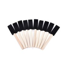 New 10 Pcs/lot Foam Brush Sponge Wooden Handle Brushes for Watercolor Oil Stain Art Craft Painting Drawing Project  Tool Supply