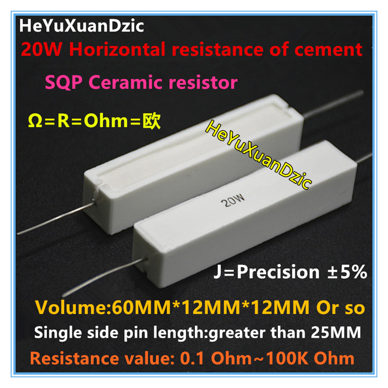 10pcs Wirewound Cement Resistor Ceramic 10W Horizontal ± 5/% 1R-820R ohm Ω