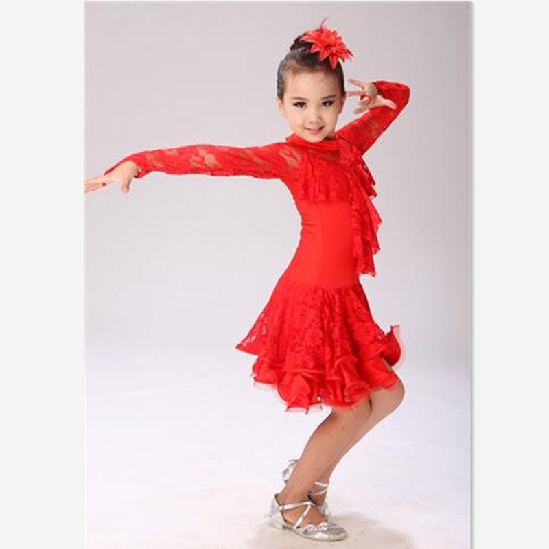 Autumn Winter Long Sleeve Children Dance Clothes Gorgeous Pretty Girls Lace Floral Latin Lace Dresses Girls Performing Costumes<br><br>Aliexpress