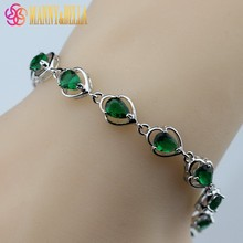 925 Sterling Silver Water Drop Green Created Emerald Bracelet Health Fashion  Jewelry For Women Free Jewelry Box SL143