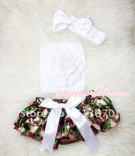 Camouflage Patterns Layer Panties Bloomer with Pure White Peony, Crochet Tube Top and Bow Headband 3PC Set MACT263