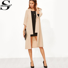 Sheinside Roll Up Sleeve Duster Trench Coat Apricot 2017 Women Open Front Elegant Long Trench Autumn 3/4 Sleeve Female Work Coat