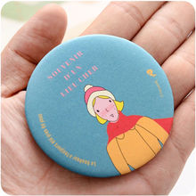 1PCS Cartoon Pattern Portable Compact Pocket Cosmetic Mirror for Beauty Women In Cosmetic Case