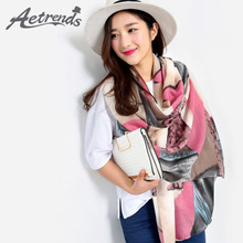 [AETRENDS] 2016 European Fashion Scarves Triangle Geometric Print Scarf Women Shawl Z-2896