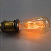10PCS E27 110V/220V 40W/60W Vintage Antique Edison Light Carbon Filament Bulb ST64 Style Edison Bulb Incandescent Bulb Lamp