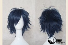 Factory supply,35cm Shaggy layered ink blue black fusion short cosplay costume anime wig,have stock,free shipping