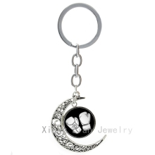 2016 newest fashion Boxing keychain hot sale vintage boxing glove Silver plated moon key chains Fitness sports key ring T281(China)