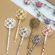 20mm Blank Bobby Pins Bases Settings Metal Brass Flat Filigree Flower Hair Clip Hairpins Crafts DIY Findings Women's Jewelry