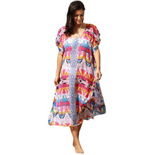 Multicolor printing necklines 2017 summer  is placed on both sides of the split loose sand beach dress
