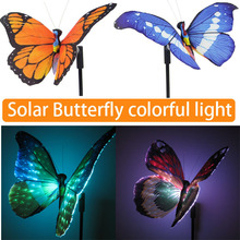 2pcs/Lot Solar panel LED Spike Butterfly LED Landscape Garden Yard Path Lawn Solar Lamps Outdoor Grounding Sun Light(China)