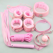 7pcs Faux Leather Fetish Restraint Bondage Role Play Kit Hand Cuffs Mask Ball Gag Sex(China)