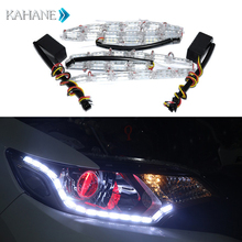 2PCS Car HeadlLamps LED Strip Turn Signal Lights Waterproof Adjustable Bulb Cob Daytime Runing DRL LED Controller