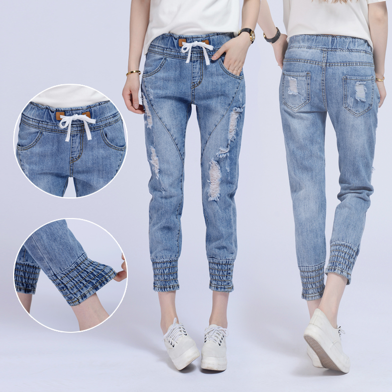 2017 Summer Women Elastic Jeans Woman Loose Harem Jeans Women Harem Pants Plus Size Jeans For Women high qualityОдежда и ак�е��уары<br><br><br>Aliexpress